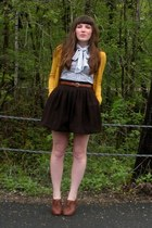 mustard H&M cardigan - white thrifted blouse - dark brown thrifted skirt - brown