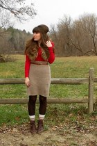 light brown sweater thrifted skirt - dark brown cheerio seychelles boots