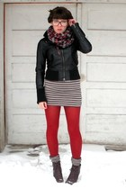 black Aldo jacket - heather gray H&M dress - red HUE tights - dark brown seychel