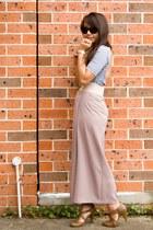 beige maxi thrifted skirt - dark brown D&G sunglasses