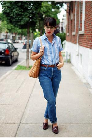 navy levis 501s vintage jeans - sky blue vintage shirt - tawny vintage bag
