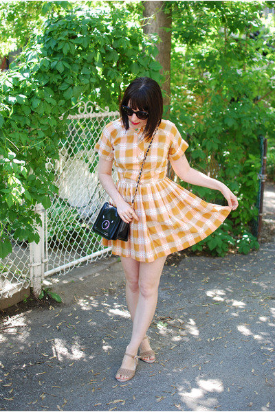 light orange vintage dress - black OASAP bag