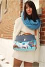 Light-blue-pony-bag-oasap-bag-camel-urban-outfiters-boots-ivory-vintage-coat