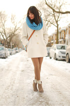 light blue pony bag OASAP bag - camel urban outfiters boots - ivory vintage coat
