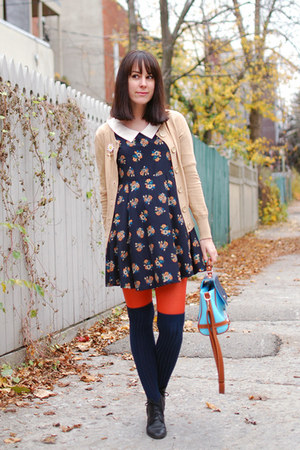 navy Mia Mix dress - black vintage boots - carrot orange Ardene tights