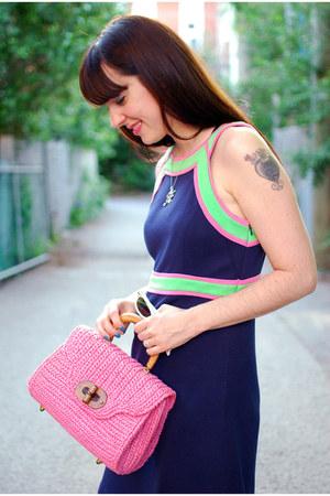 bubble gum vintage purse - navy Lilly Pulitzer dress - white vintage sunglasses