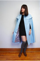 light blue vintage cape - dark brown vintage shoes - black vintage dress