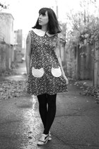 black handmade dress - white Ebay shoes - black Urban Outfitters tights