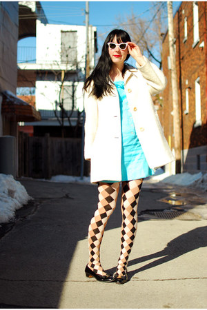 light blue vintage dress - white vintage coat - tan Emilio Cavallini tights