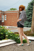 black Zara blouse - black Urban Outfitters shorts - silver PERSUNMALL flats