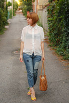 blue PERSUNMALL jeans - tawny vintage bag - yellow OASAP wedges