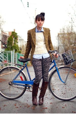 dark brown vintage boots - ivory Forever 21 sweater - mustard vintage blazer