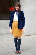 mustard vintage skirt - navy vintage blazer - white vintage shirt