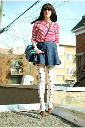 white winners tights - red American Apparel dress - light blue Gaya bag