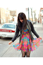 black Anna Sui tights - bubble gum vintage dress - black vintage jacket