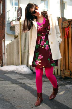 hot pink OASAP necklace - brown vintage boots - maroon vintage dress