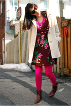 hot pink OASAP necklace - brown vintage boots - maroon vintage dress