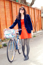 navy vintage blazer - carrot orange Forever 21 dress - heather gray OASAP tights