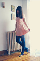 navy American Apparel tights - peach vintage dress - navy American Apparel socks