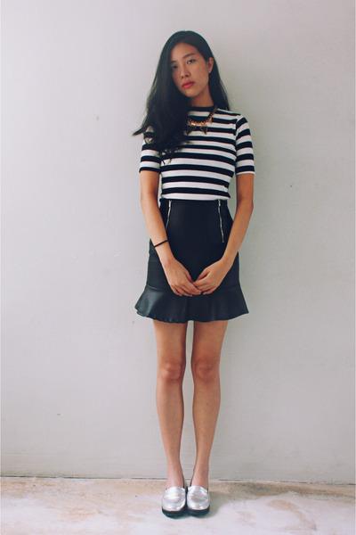 navy striped Taobao top - off white metallic Taobao loafers