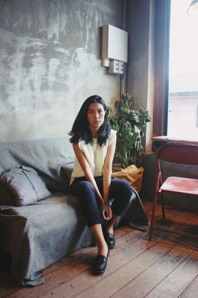 eggshell knitted Taobao top - navy tweed Uniqlo x Ines de la Fressange pants