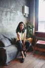 Eggshell-knitted-taobao-top-navy-tweed-uniqlo-x-ines-de-la-fressange-pants