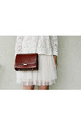 Brown-box-purse-purse-cream-dress-black-sunglasses-cream-creme-lace-top