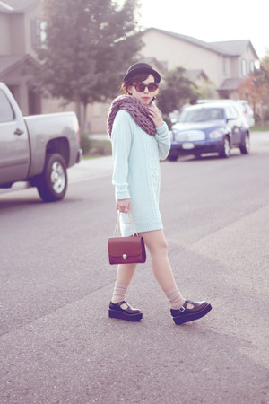 black shoes - black hat - amethyst arm-knitted scarf - light blue H&M sweatshirt