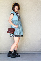 boxy purse bag - booty-ish shoes - dress - straw hat hat