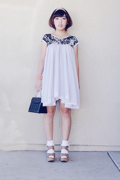 black tri-box bag - light purple dress - white lace ruff socks