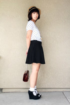 black wedges - straw hat hat - white socks