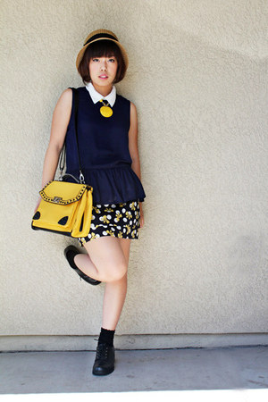 yellow bag - black black boots shoes - dark khaki straw hat hat - navy shirt