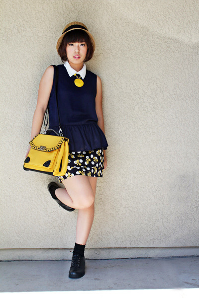 yellow bag - black black boots shoes - dark khaki straw hat hat - navy shirt