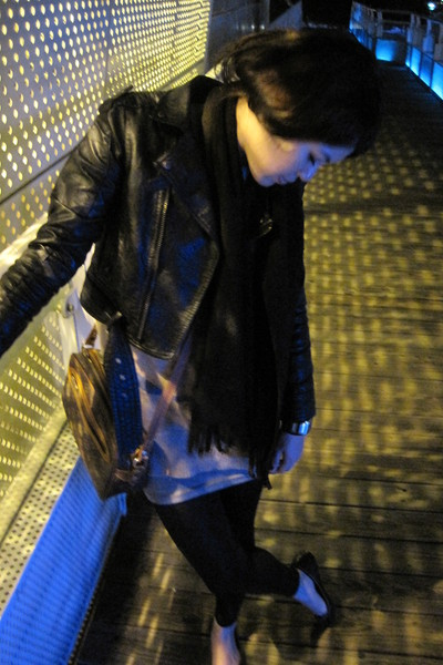 black jacket - black leggings - black scarf - black shoes - brown top