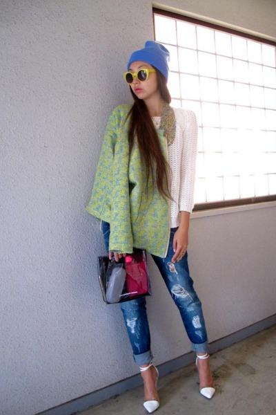 navy Zara jeans - violet SpinnsHarajuku hat - chartreuse H&M jacket