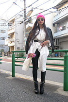 black Steve Madden boots - white Zara coat - light brown DKNY jacket