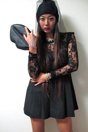 black order made dress - black asoscom bag