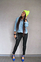 sky blue H&M shirt - yellow random hat - black Zara pants