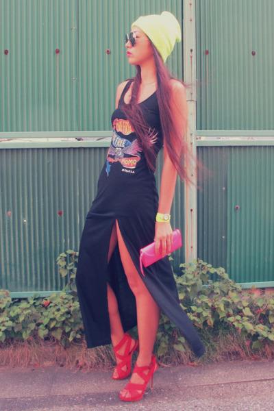 red Zara heels - black momo dress - yellow neon random hat