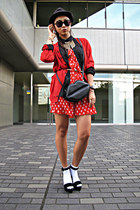 black asoscom bag - red Forever21 dress - black H&M blouse - red DKNY cardigan