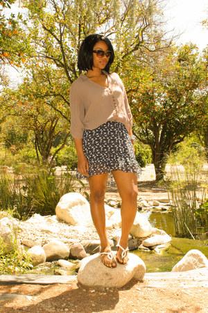 navy hi-lo hem Wetseal skirt - light brown button down Charlotte Russe shirt