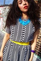 blue Egyptian Camel Bone necklace - black thrifted dress - yellow American Appar