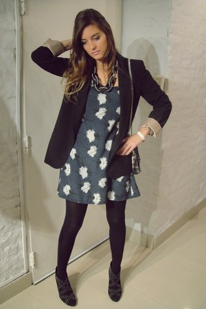 heather gray Complot dress - black Complot blazer - black Zara heels