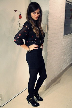 ruby red Urban Outfitters shirt - black Zara skirt - black Forever 21 heels
