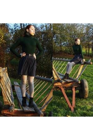 dark green green Zara sweater - navy colduroy DIY skirt