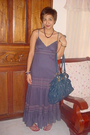 purple Promod dress - Jm - red Havaianas shoes - Grandmas accessories - Grandmas