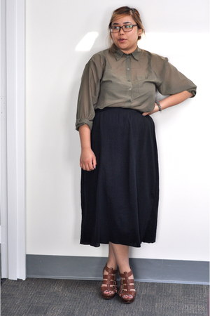 olive green sheer button-up H&M blouse - black long skirt Uniqlo skirt - tawny Z