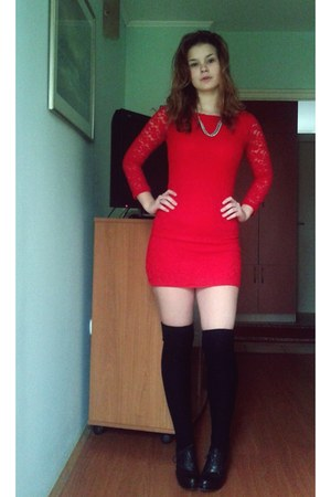 red Donna dress - black H&M socks - black Deichmann heels
