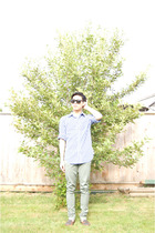 UO glasses - Gap shirt - bdg uo pants - thrifted shoes
