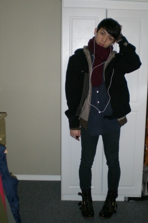 thrifted scarf - Character Hero Urban Outfitters - vintage jacket - Gap shirt -